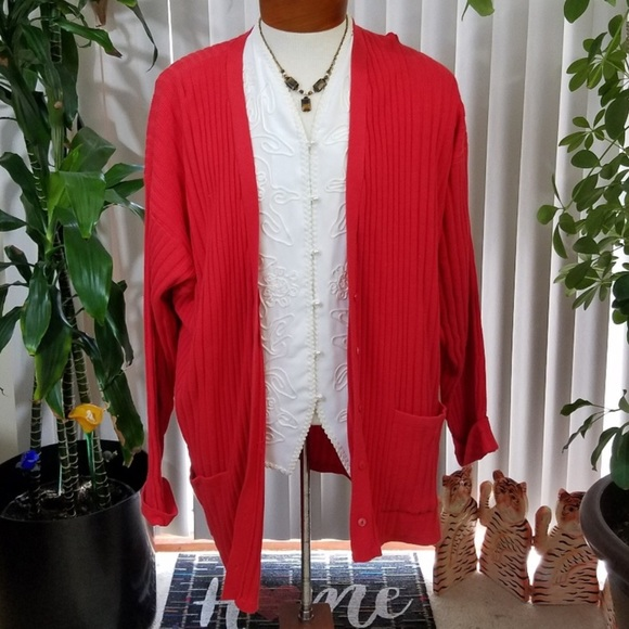 Vintage Sweaters - Vintage Audrey Jones red cardigan sweater